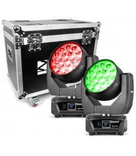 MHL1915 LED Zoom Moving Head 2 stuks in Flightcase beamZ Professional