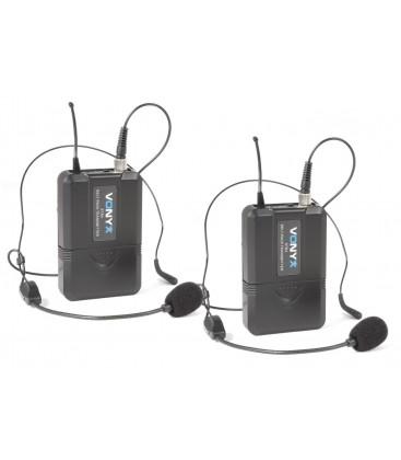 Vonyx WM73H UHF 2-kanaals draadloos mic. met twee bodypacks en headset