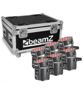 LED Battery Uplighter Set, 6st. in Flightcase met lader beamZ Pro BBP60