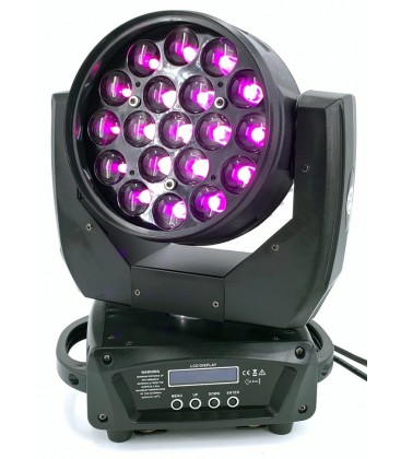 LED Moving Head Zoom 19 x 15W RGBW TMH-1915 2 Stuks in Flight Case AFX