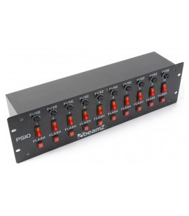 DJ Schakelpaneel 10-Kanaals IEC + Flashtoets beamZ PS10