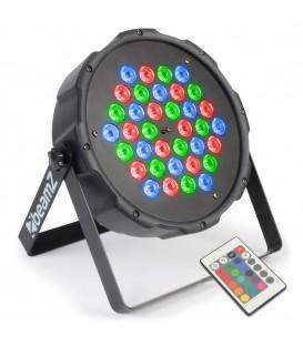 FlatPAR 36x 1W RGB LEDs DMX IR afstandsbediening beamZ 151.290