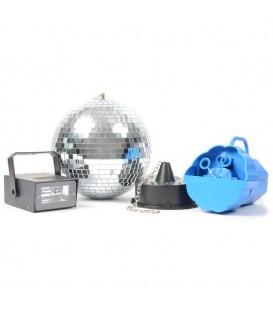 Discoset IV met spiegelbol met motor, bellenblaasmachine en stro