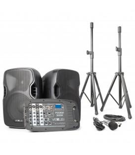 """Mobiele Geluidset 10"""" SD/USB/MP3/BT met 2 Statieven Vexus PSS302"""