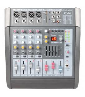 6-Kanaals Mixer met versterker SD/USB/MP3/DSP Skytec STL6A