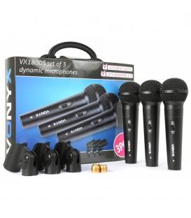 Dynamische Microfoon set van 3 stuks Vonyx VX1800S