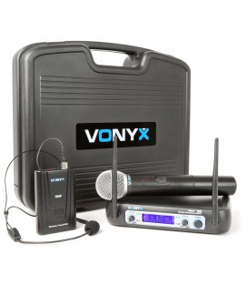 VHF 2-kanaals draadloze mic. met Handheld en Body pack, display WM512C