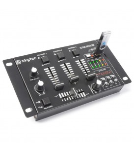4-Kanaals DJ Mixer USB/MP3 Skytec STM-3020 Zwart