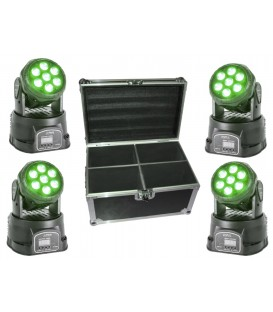 4 X PARTY WASH MOVING HEAD 7x8W RGBW IN FLIGHT CASE IBIZA
