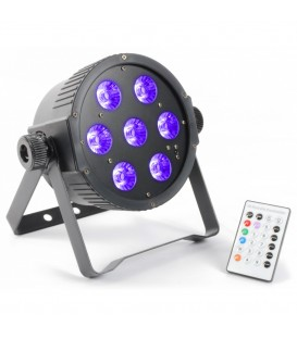 FlatPAR 7x 18W RGBAWUV LED's DMX IR BeamZ