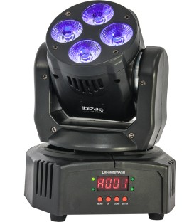 Wash Moving Head RGBWA-UV 6-IN-1 met DMX 4x18W IBIZA LMH-MINIWASH