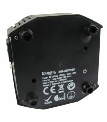 Wash Moving Head RGBWA-UV 6-IN-1 met DMX 4x18W IBIZA LMH-MINIWASH