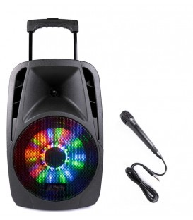 "Mobiele Speaker 8"" 300W met BT, USB, SD, Mic en Accu PARTY-8LED"