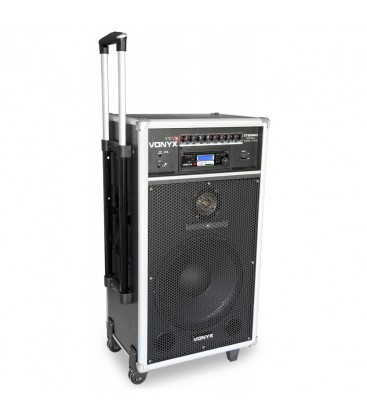 "Mobiele Gel .inst. 12"" 450watt DVD/CD/MP3/SD/USB 2 x Mic.UHF ST180"