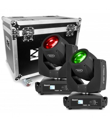 Tiger E 7R Spot Moving head set 2 stuks in Flightcase BeamZ Professional