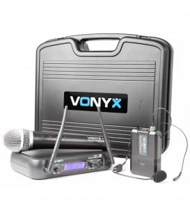 Vonyx WM73C 2-kanaals UHF draadloze Combi mic, handheld & Bodypack