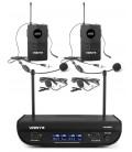 Vonyx WM82 Digitaal UHF 2-kanaals draadloos mic. met twee bodypacks